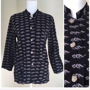 Chico's Cloud Print Corduroy Mandarin Style Jacket